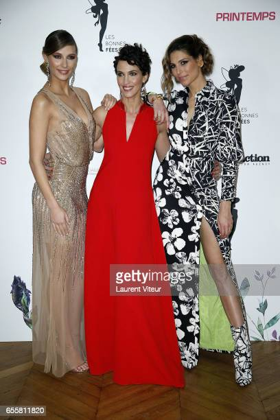 Miss France 2015 Camille Cerf Miss France 1992 Linda Hardy and Miss France 2011 Laurie Thilleman attend 'Les Bonnes Fees' Charity Gala at Hotel...