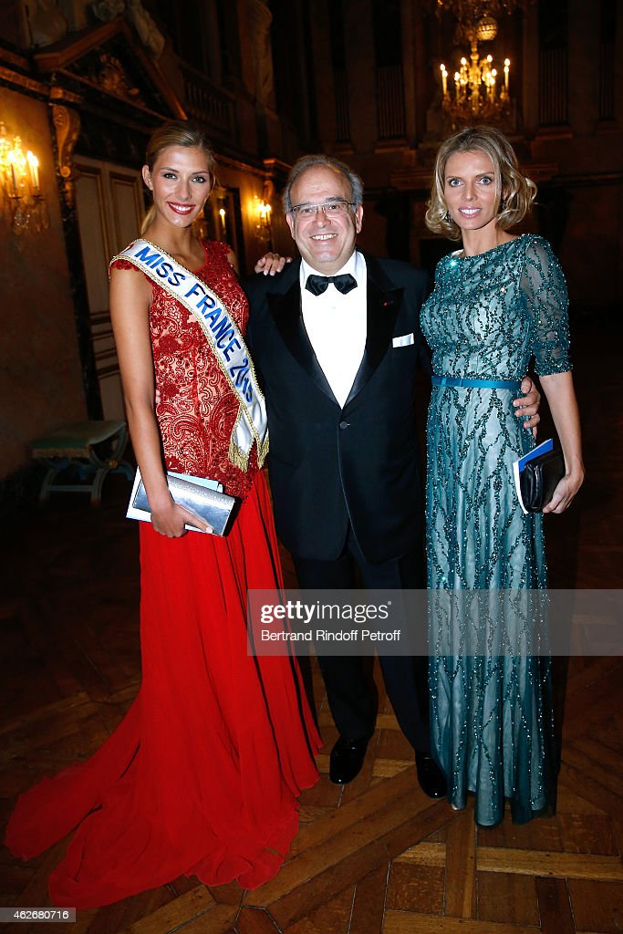 Miss France 2015 Camille Cerf Professor David Khayat and CEO of Miss France Company Sylvie Tellier attend the David Khayat Association 'AVEC' Gala...
