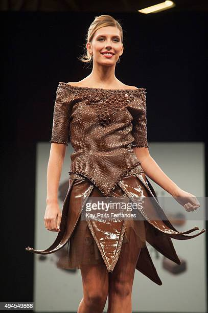 Miss France 2015 Camille Cerf walks the runway during the Chocolate fashion show as a part of the Salon Du Chocolat 2015 Chocolate Fair at Parc des...