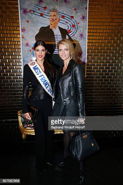 Miss France 2016 Iris Mittenaere and CEO of Miss France Company Sylvie Tellier attend the Jean Paul Gaultier Spring Summer 2016 show as part of Paris...