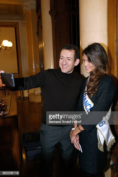 Miss France 2016 Iris Mittenaere realizes her dream meeting Actor Dany Boon on the set of the movie 'Radin' at National Institute for Young Blind on...