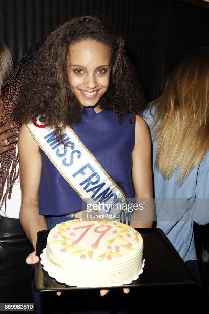 Miss France 2017 Alicia Aylies attends Miss France 2017 Alicia Aylies Surprise Birthday at BAM Karaoke Box on April 18 2017 in Paris France