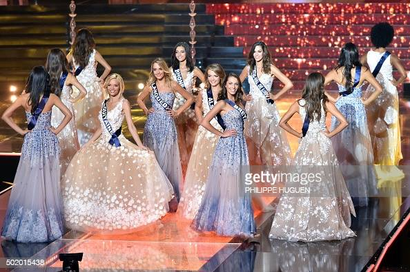 miss france contestants parade on stage during the miss. Black Bedroom Furniture Sets. Home Design Ideas