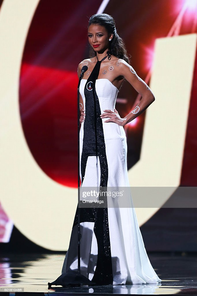 Miss France <a gi-track='captionPersonalityLinkClicked' href=/galleries/search?phrase=Flora+Coquerel&family=editorial&specificpeople=11782455 ng-click='$event.stopPropagation()'>Flora Coquerel</a> walks the runway during the preliminary round of Miss Universe 2015 at The Axis, Planet Hollywood Resort & Casino on December 16, 2015 Las Vegas, Nevada.