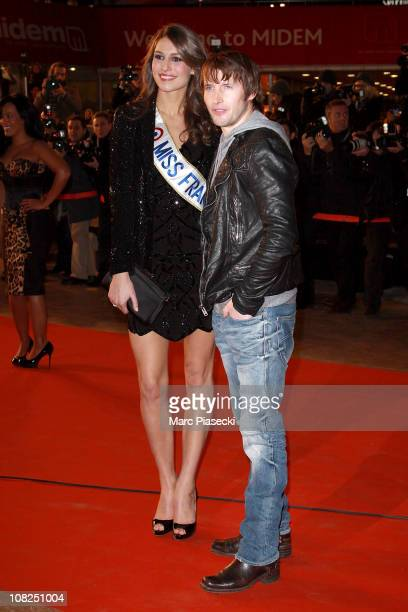 Miss France Laury Thilleman and James Blunt attend the NRJ Music Awards 2011 on January 22 2011 in Cannes France
