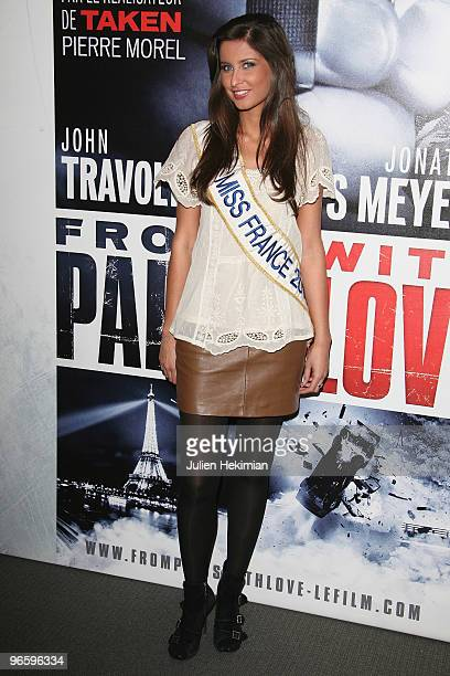 Miss France Malika Menard attends 'From Paris with Love' Paris premiere at Cinema UGC Normandie on February 11 2010 in Paris France