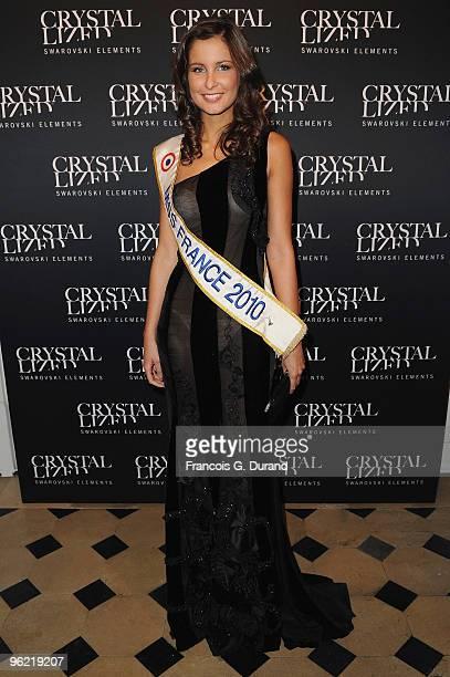 Miss France Malika Menard attends the 22 Iconic Little Black Dresses by Swarovski at Hotel Pozzo di Borgo on January 27 2010 in Paris France
