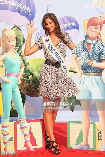 Miss France Malika Menard attends the 'Toy Story 3' Paris premiere at Disneyland Paris on June 26 2010 in Paris France