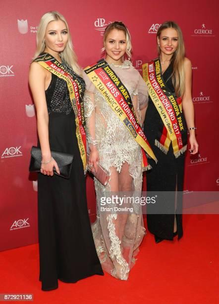 Miss Germany 2017 Soraya Kohlmann Miss Thringen 2017 Victoria Selivanov and Miss Ostdeutschland 2017 Patrycja Kupka attend the TULIP Gala 2017 at...