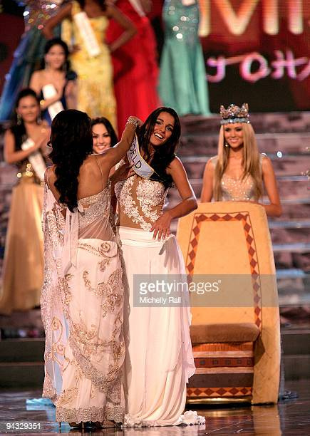 Miss Gibraltar Kaiane Aldorino is crowned Miss World 2009 at Gallagher Convention Centre on December 12 2009 in Johannesburg South Africa