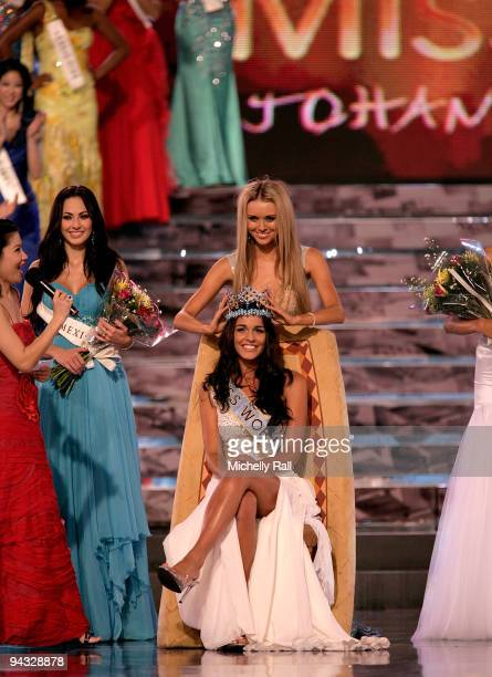 Miss Gibraltar Kaiane Aldorino is crowned Miss World 2009 by Miss World 2008 Ksenia Shipilova with runner up Miss Mexico Perla Beltran Acosta at...