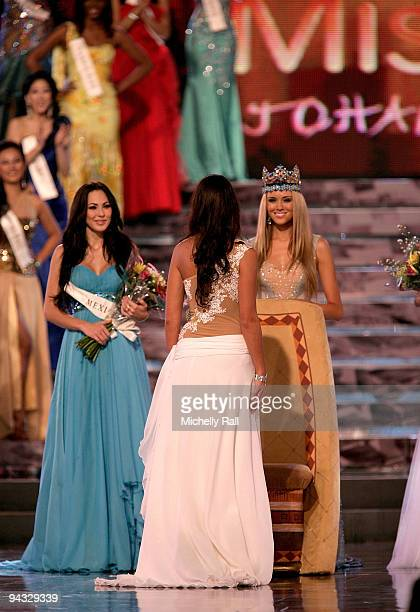 Miss Gibraltar Kaiane Aldorino is crowned Miss World 2009 by Miss World 2008 Ksenia Shipilova as runner up Miss Mexico Perla Beltran Acosta looks on...