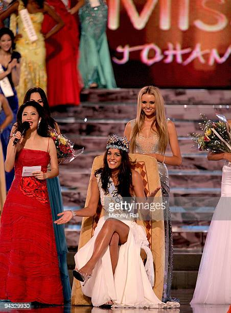 Miss Gibraltar Kaiane Aldorino is crowned Miss World 2009 by Miss World 2008 Ksenia Shipilova at Gallagher Convention Centre on December 12 2009 in...