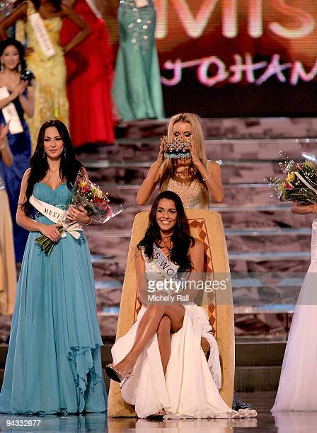 Miss Gibraltar Kaiane Aldorino is crowned Miss World 2009 by Miss World 2008 Kseniya Shipilova with runner up Miss Mexica Perla Beltran Acosta at...