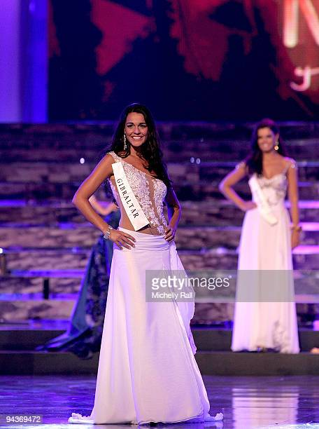 Miss Gibraltar Kaiane Aldorino poses before being crowned Miss World 2009 at the Gallagher Convention Centre on December 12 2009 in Johannesburg...
