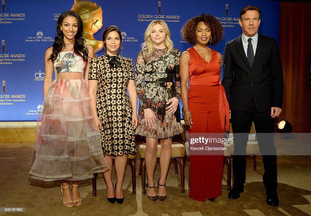 Miss Golden Globe 2016 Corinne Foxx actors America Ferrera Chloe Grace Moretz Angela Bassett and Dennis Quaid attend the 73rd Annual Golden Globe...