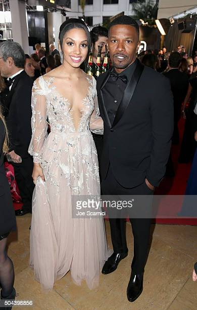 Miss Golden Globe 2016 Corinne Foxx and actor Jaimie Foxx attend the 73rd Annual Golden Globe Awards held at the Beverly Hilton Hotel on January 10...