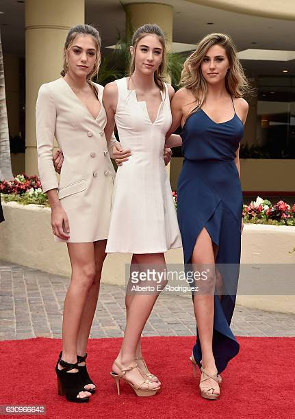 Miss Golden Globe 2017 Sophia Stallone Sistine Stallone and Scarlett Stallone attend the 74th Annual Golden Globes Preview Day at The Beverly Hilton...