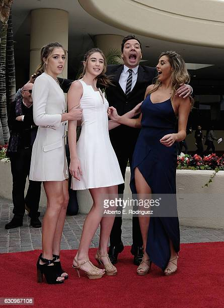 Miss Golden Globe 2017 Sophia Stallone Sistine Stallone host Jimmy Fallon and Scarlett Stallone attend the 74th Annual Golden Globes Preview Day at...