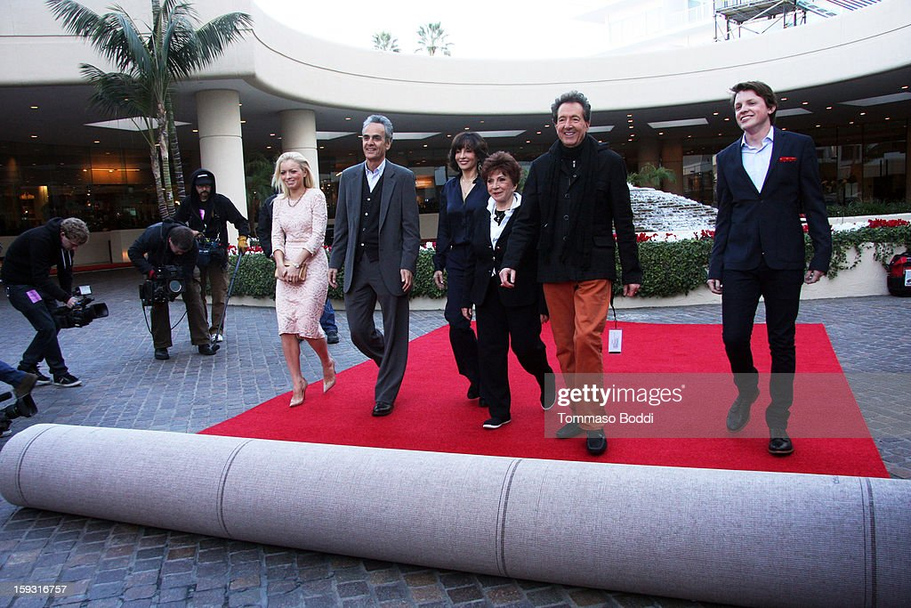 Miss Golden Globe Francesca Eastwood, DCP productions CEO Allen Shapiro, president of DCP Orly Adelson, president of HFPA Dr. <a gi-track='captionPersonalityLinkClicked' href=/galleries/search?phrase=Aida+Takla+O%27Reilly&family=editorial&specificpeople=2617242 ng-click='$event.stopPropagation()'>Aida Takla O'Reilly</a>, EVP of Television for DCP Barry Adelman and Mr. Golden Globe <a gi-track='captionPersonalityLinkClicked' href=/galleries/search?phrase=Sam+Fox+-+Son+Of+Michael+J.+Fox&family=editorial&specificpeople=240209 ng-click='$event.stopPropagation()'>Sam Fox</a> attend the 70th Annual Golden Globe Awards Preview Day held at The Beverly Hilton Hotel on January 11, 2013 in Beverly Hills, California.