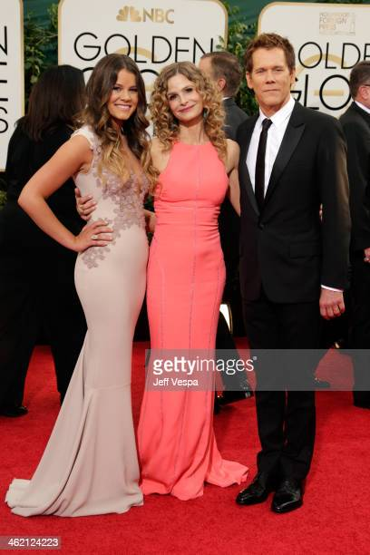Miss Golden Globe Sosie Bacon actress Kyra Sedgwick and actor Kevin Bacon attend the 71st Annual Golden Globe Awards held at The Beverly Hilton Hotel...