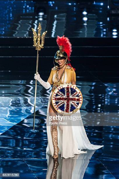 Miss Great Britain shows off her national costume at the Arena in Pasay City Candidates from different countries showed off their national costumes...