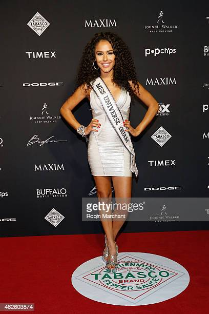 Miss Guam Brittany Bell celebrates bold moments with Tabasco at the MAXIM Party on January 31 2015 in Phoenix Arizona