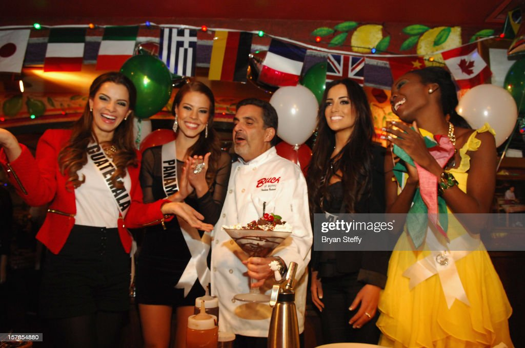 Miss Guatemala Laura Beatriz Godoy Calle, Miss Panama Stephanie Vanderwerf, Chef Stuart Leitner, Miss New Zealand Talia Bennett and Miss Guyana Rugayyah Boyer appear at the Buca di Beppo Italian Restauranton December 6, 2012 in Las Vegas, Nevada.