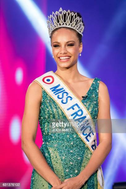 Miss Guyana 2016 and newly elected Miss France 2017 Alicia Aylies stands on stage during a show on January 9 2017 in Cayenne on the French department...