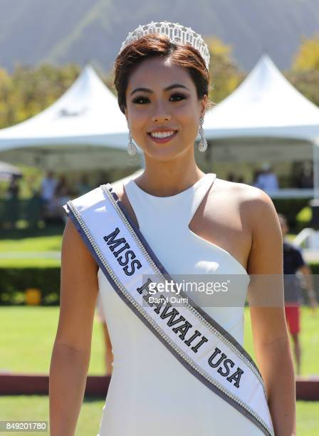 Miss Hawaii USA Julie Kuo waits for the arrival of Team Kea and Team Eleele before the 2017 Hawaii Invitational of Polo on September 16 2017 in...