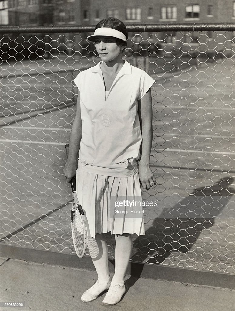 Portrait of Helen Wills with Tennis Racquet