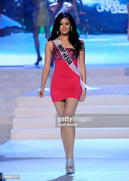 Miss Indonesia 2012 Maria Selena is introduced during the 2012 Miss Universe Pageant at PH Live at Planet Hollywood Resort Casino on December 19 2012...