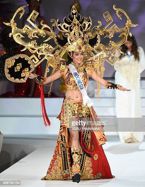 Miss Indonesia Elfin Pertiwi Rappa appears on the stage during the Miss International 2014 during the Miss International 2014 Beauty Pageant in Tokyo...