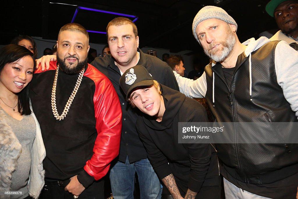 Miss Info DJ Khaled Rob Stone Justin Bieber and Steve Rifkind attend The FADER AllStar Weekend Ping Pong Tournament NBA AllStar Weekend 2015 at SPiN...