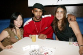 Miss Info Joe Budden and Kim Osario during Power Moves Presents the 1st Annual Celebrity Spades Tournament at Strata in New York City New York United...