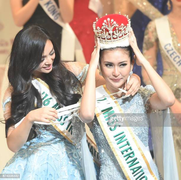 Miss International Kevin Lilliana receives the crown from Miss International 2016 Kylie Verzosa during the Miss International Beauty Pageant 2017...
