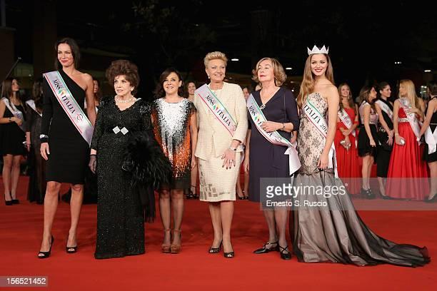 Miss Italia 2012 Giusy Buscemi Gina Lollobrigida Patrizia Mirigliani poses with past Miss Italia's during the 7th Rome Film Festival at the...