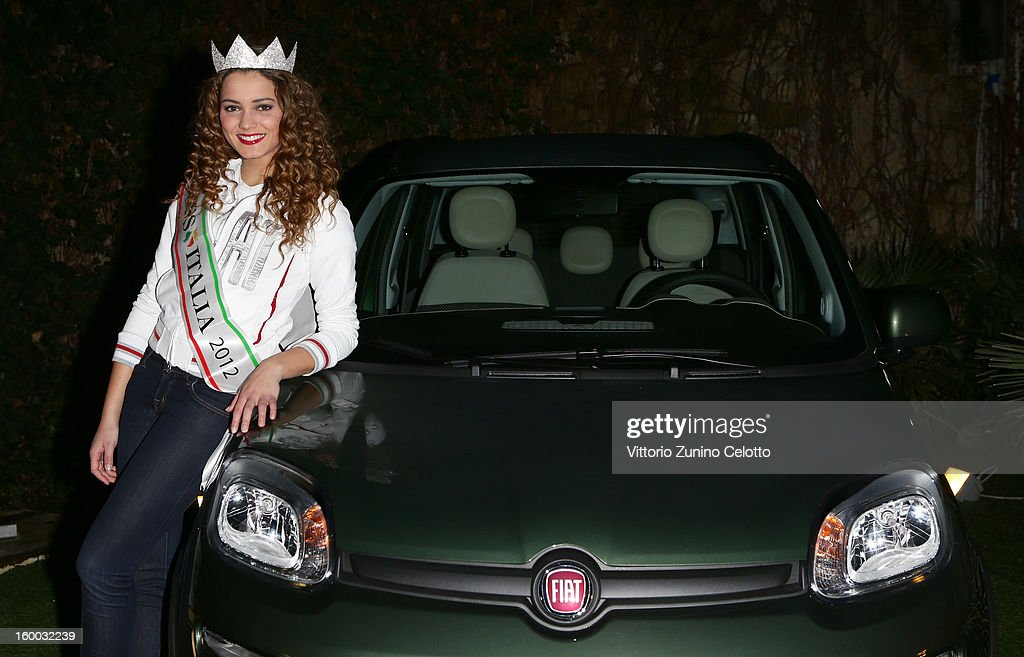 Miss Italia <a gi-track='captionPersonalityLinkClicked' href=/galleries/search?phrase=Giusy+Buscemi&family=editorial&specificpeople=9707519 ng-click='$event.stopPropagation()'>Giusy Buscemi</a> attends FIAT Panda 4x4 event at the FIAT Open Lounge on January 24, 2013 in Milan, Italy.