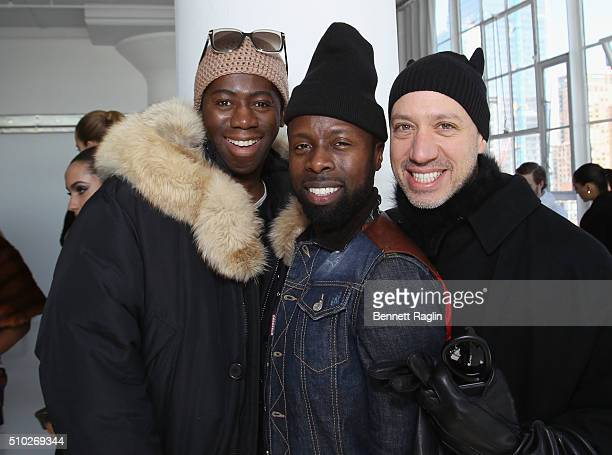 Miss J Alexander Memsor Kamarake and Robert Verdi pose during SheaMoisture at Laquan Smith F/W 2016 NYFW at Jack Studios on February 14 2016 in New...