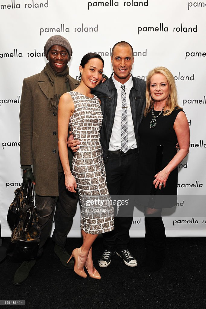 Miss J, Cristen Barker, photographer Nigel Barker, and designer Pamella Roland pose backstage at the Pamella Roland Fall 2013 fashion show during Mercedes-Benz Fashion Week at at The Studio at Lincoln Center on February 11, 2013 in New York City.