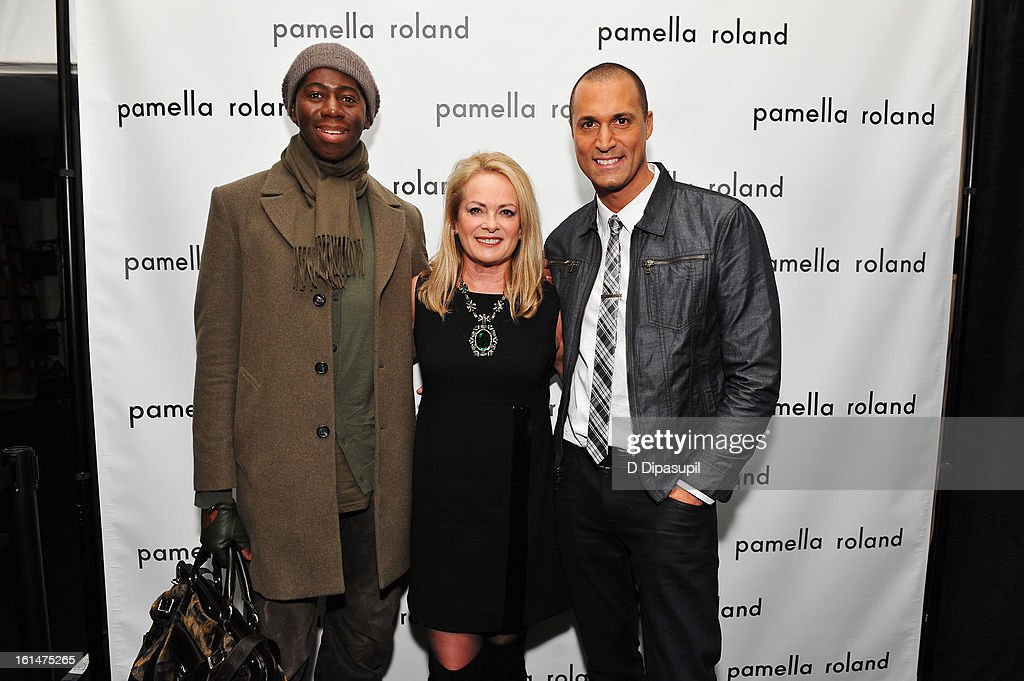 Miss J, designer Pamella Roland, and photographer Nigel Barker pose backstage at the Pamella Roland Fall 2013 fashion show during Mercedes-Benz Fashion Week at at The Studio at Lincoln Center on February 11, 2013 in New York City.