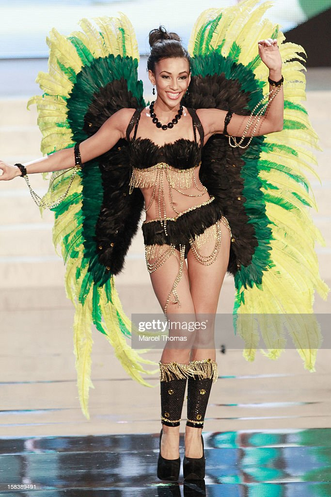 Miss Jamaica Chantal Zaky displays her national costume at the 2012 Miss Universe National Costume event at Planet Hollywood Casino Resort on December 14, 2012 in Las Vegas, Nevada.