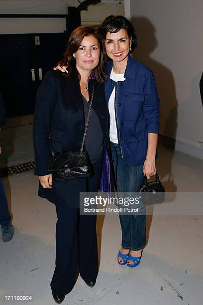 Miss JeanFrancois Cope and Rachida Dati backstage after the last concert in Paris of Patrick Bruel held at Palais Omnisports de Bercy on June 22 2013...
