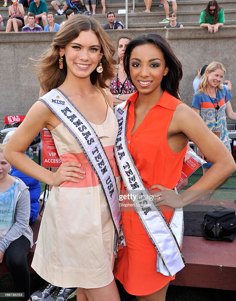 Miss Kansas Teen USA 2013 Alyssa Klinzing (L) and Miss Indiana Teen USA 2013 Darrian Arch attend the Tom Brady Football Challenge for the Best Buddies Challenge: Hyannis Port on May 31, 2013 in Boston, Massachusetts.