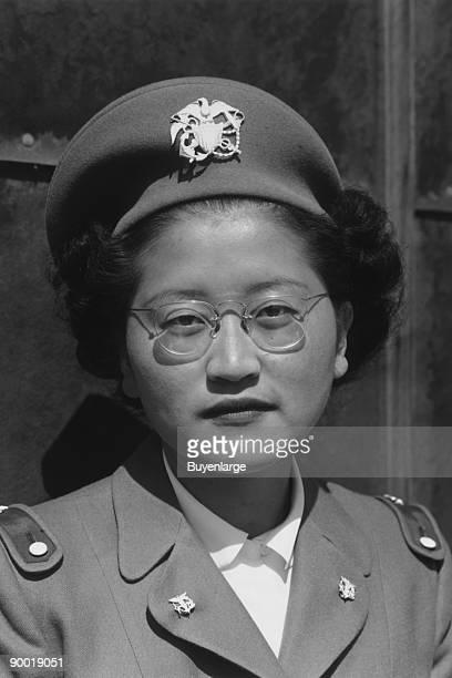 Miss Kay Fukuda US Naval cadet nurse Corps head headandshoulders portrait facing front in uniform Ansel Easton Adams was an American photographer...