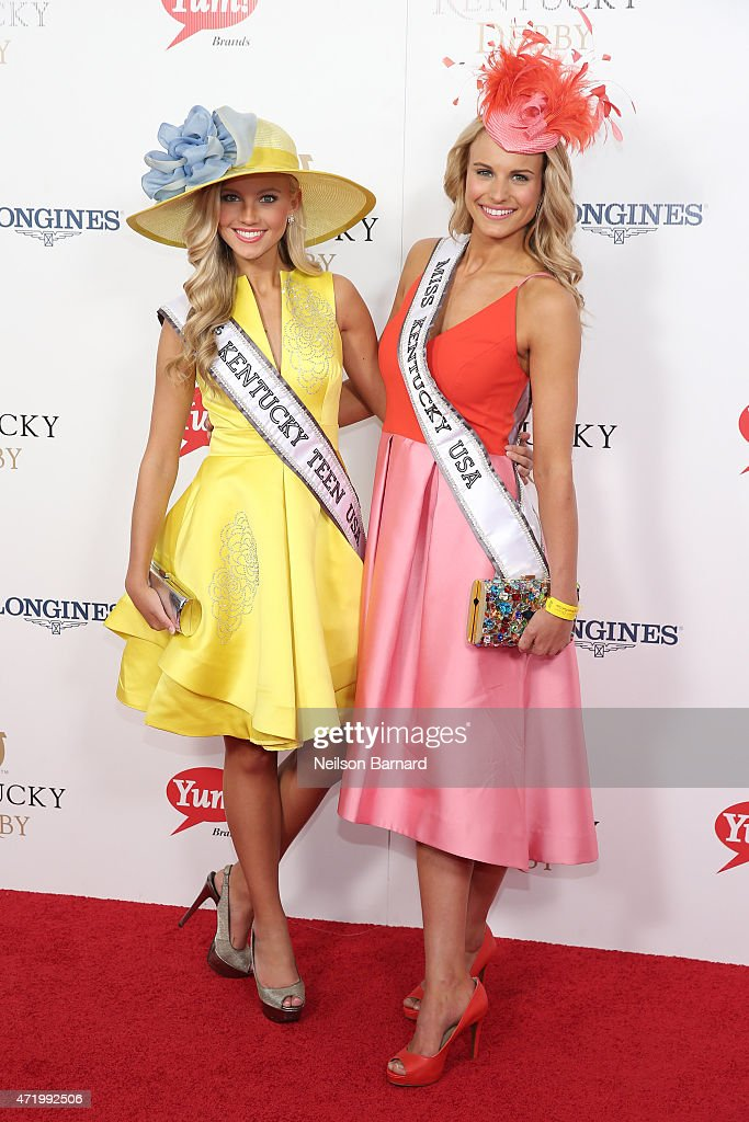 Miss Kentucky Teen USA, Caroline Ford (L) and Miss Kentucky USA, Katie George attend the 141st Kentucky Derby at Churchill Downs on May 2, 2015 in Louisville, Kentucky.