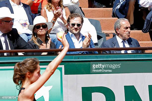 Miss Manule Valls Violonist Anne Gravoin Violonist Renaud Capucon and President of French Tennis Federation Jean Gachassin attend the 2015 Roland...
