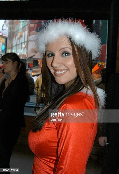 Miss March 2003 Penelope Jiminez during Playboy Playmates and Braun Freeglider Host PreHoliday Personal Shave Session In Times Square at Times Square...