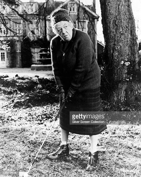 Miss Marple played by English actress Margaret Rutherford playing golf in 'Murder She Said' directed by George Pollock 1961