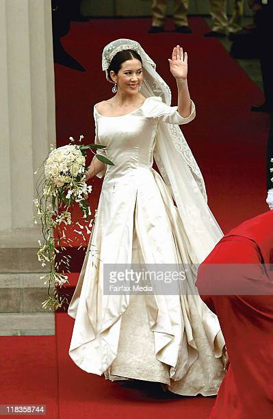 Miss Mary Donaldson arrives at Copenhagen Cathedral for her wedding to Crown Prince Frederik in Denmark on 14 May